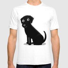 Black Lab - Cute Dog Series SMALL White Mens Fitted Tee