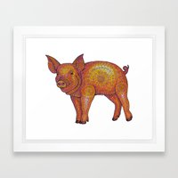 Patterned Piglet Framed Art Print