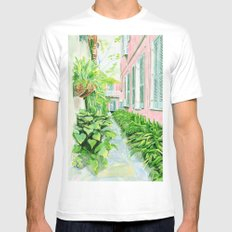 New Orleans Courtyard Mens Fitted Tee SMALL White
