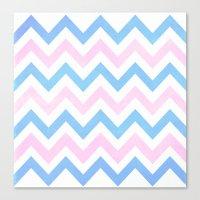 Blue Pink Textured Vintage Chevron Canvas Print