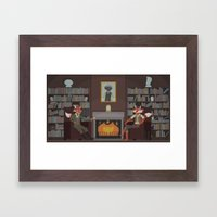 Foxes after the hunt Framed Art Print