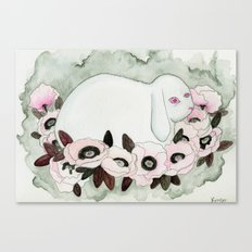 White Rabbit, Pink Poppies Canvas Print