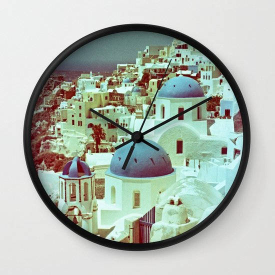 Santorini in Raspberry and Blue: shot using Revolog 600nm special effects film Wall Clock