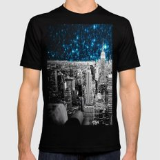 Starry Teal Night Mens Fitted Tee Black SMALL