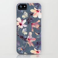 iPhone Cases featuring Butterflies and Hibiscus Flowers - a painted pattern by micklyn