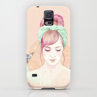 Galaxy S5 Cases featuring Pink hair lady by Ariana Perez