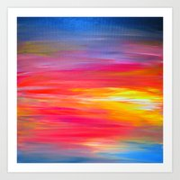 BRIGHT HORIZONS Bold Colorful Rainbow Pink Yellow Blue Abstract Painting Sunrise Sunset Stripes  Art Print