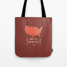 Nice to Meat You USA Map Tote Bag