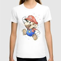 mario T-shirts featuring Mario Watercolor by Olechka