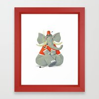 Elephant with Fez Smoking a Pipe Framed Art Print