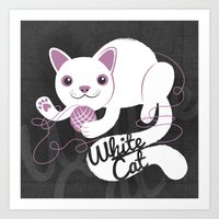 White Cat Art Print