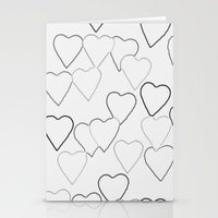 Black and White R Hearts Stationery Cards