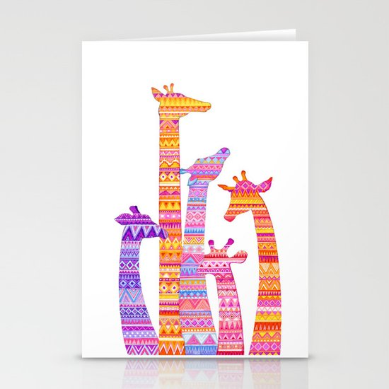 Giraffe Silhouettes in Colorful Tribal Print Stationery Card