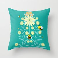 Bees, birds and flowers Throw Pillow