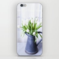 A Pitcher of Tulips - White Flowers iPhone & iPod Skin