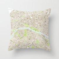 Paris SGB Watercolor Map Throw Pillow