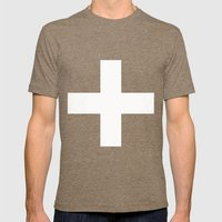 White Plus On Black /// … Mens Fitted Tee Tri-Coffee SMALL