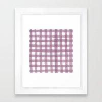 Gingham Plum Framed Art Print