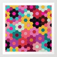 Honeycomb Blooms Art Print