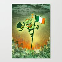 Leprechaun Singing on an Irish Flag Pole Canvas Print