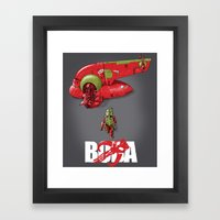 BobAkira (red with white text) Framed Art Print