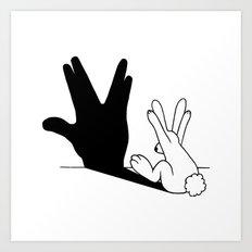 Rabbit Trek Hand Shadow Art Print