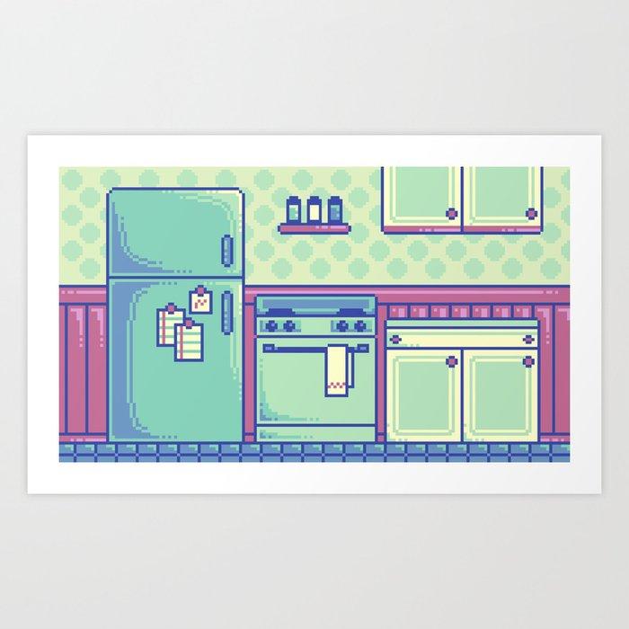 Pixel Kitchen Art Print By MalevolentMask