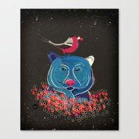 Bullfinch And Bear Canvas Print