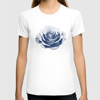 HALFTONE ROSE Womens Fitted Tee White SMALL