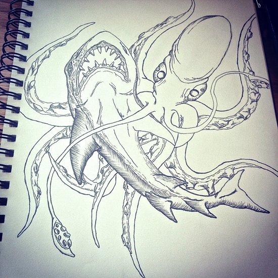 Octopus v. Shark  Art Print