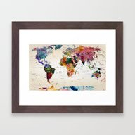 Framed Art Print featuring Map by Mark Ashkenazi