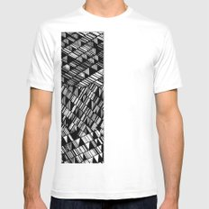 Moving Panes Black & White White Mens Fitted Tee SMALL