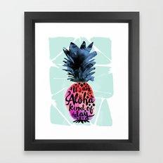 Pineapple Aloha Type Framed Art Print