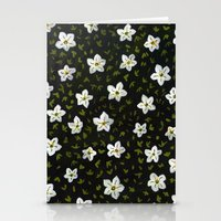 White Spring Flowers Stationery Cards