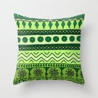 Yzor Pattern 003 Green Throw Pillow