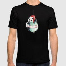 Christmas Panda Mens Fitted Tee SMALL Black