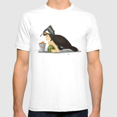 Little Black Cormorant Mens Fitted Tee White SMALL