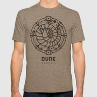 SANDWORM: ARRAKIS BADGE Mens Fitted Tee Tri-Coffee SMALL