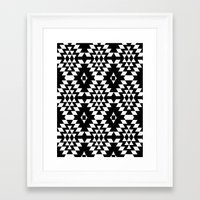 Aztec Inspired Pattern White & Black Framed Art Print