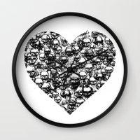 Skull Black Heart Wall Clock