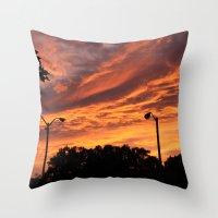 Pink And Orange Sunset Throw Pillow