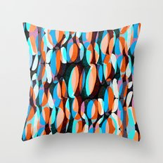 Drawn and digital layered ovals pattern Throw Pillow