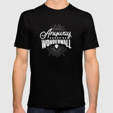 Anyway Here's Wonderwall Mens Fitted Tee Black SMALL