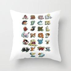 The Disney Alphabet - White Background Throw Pillow