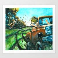 Red Neck Tubing Art Print