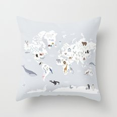 Animal Map of the world Throw Pillow