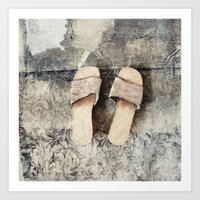 shoes Art Prints featuring shoes by woman