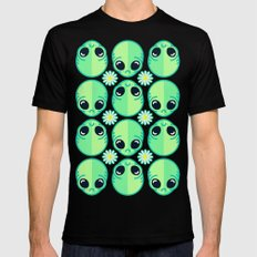 Sad Alien and Daisy Nineties Grunge Pattern SMALL Mens Fitted Tee Black