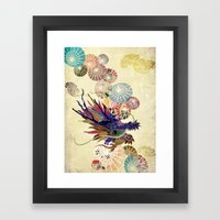 Dragon with unbrellas Framed Art Print