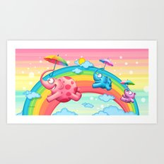 Rainbow elephants Art Print